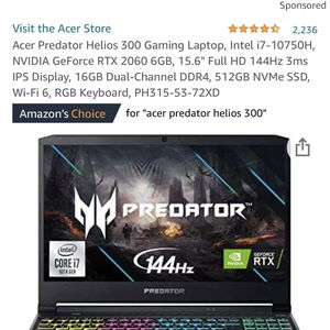 """Acer Predator Helios 300 Gaming Laptop, Intel i7-10750H, NVIDIA GeForce RTX 2060 6GB, 15.6"""" Full HD 144Hz 3ms IPS Display, 16GB Dual-Channel DDR4, 512 for Sale in Long Beach, CA"""