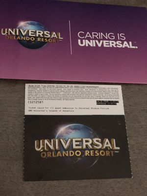 (2) 1 day 2 park passes to Universal Orlando & Islands of Adventure for Sale in Port St. Lucie, FL