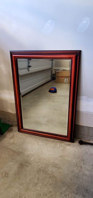 Wall Mirror - Cherry Frame - $20 for Sale in Calverton, MD