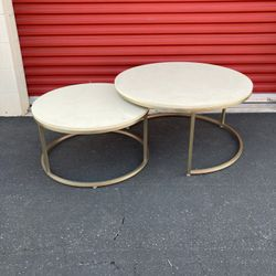 Caesarstone Nesting Tables Round Coffee Table set of 2 gold finish Aesthetic Neutral Tones for Sale in Pomona,  CA