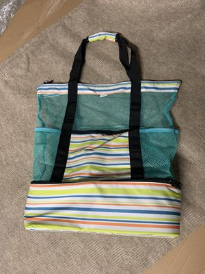 Mesh Beach Tote bag with Zipper Top and Insulated cooler for picnic, beach, outdoor for Sale in Highland, CA