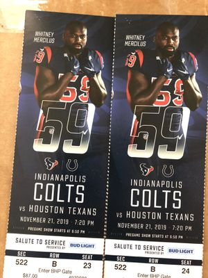 2 Texans vs Colts Thursday Night - Row 2 for Sale in Houston, TX