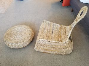 Ikea rocking rattan chair and stool for Sale in Strongsville, OH