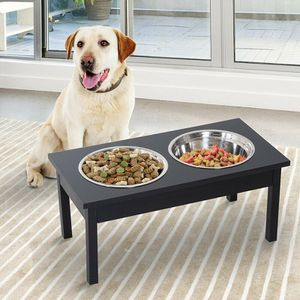 """23"""" Wooden Food Bowl Elevated Feeding Station in Black for Pet for Sale in Los Angeles, CA"""