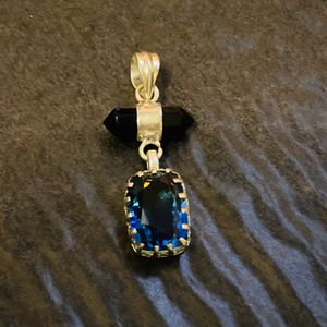 Two tone emerald cut stone with 2 point onyx .925 pendant for Sale in Castle Rock, CO