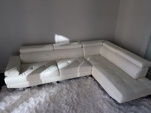 White Leather Sectional Sofa - Modern for Sale in Silver Spring, MD