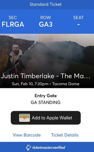 2 Floor tickets to Justin Timberlake Tacoma Dome for Sale in Kennewick, WA