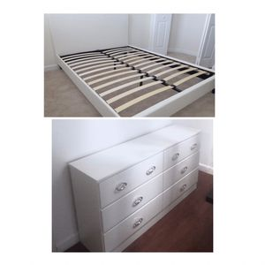 New queen bed frame and dresser Mattress is not included for Sale in Hialeah, FL