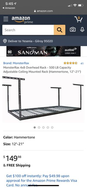 4x8 overhead storage rack for Sale in Gilroy, CA