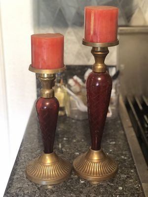 Candle holders ~ two stands of glass for Sale in Whittier, CA
