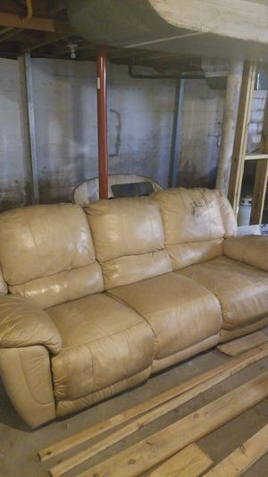 Tan reclining couch for Sale in Morgantown, WV