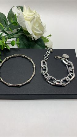 2Pcs Set Gold Plated Bamboo Thick Chain Link Chain Charm Bracelet, Silver Color for Sale in Los Angeles,  CA