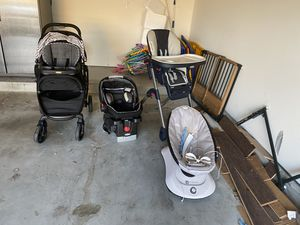 Infant car seat, high chair, stroller, and electric rocker for Sale in Missouri City, TX
