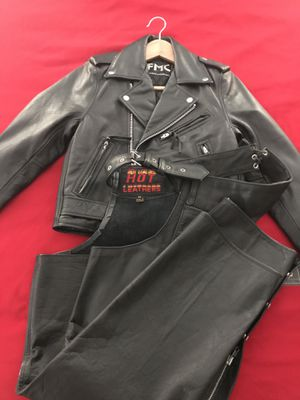 """Leather """"NEW"""" riding jacket/chaps for Sale in Scottsdale, AZ"""