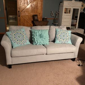 Light Blue/ Grey Couch With Slip Cover for Sale in Hazel Green, AL