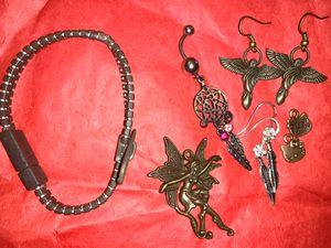 Jewelry bundle-bronze/silver-zipper bracelet/earrings/necklace pendants/belly ring/angel/fairy/hello kitty/feather/dream catcher for Sale in Virginia Beach, VA