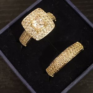 Unisex 👰💍18K ⚡️ YELLOW ⚡️ Gold bond Engagement /Wedding Ring Set- PrinC- Cut for Sale in Los Angeles, CA
