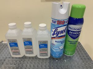 Lysol disinfectant sprat, Microban sanitizing spray & 3 alcohol bottles, pick up only for Sale in Queens, NY