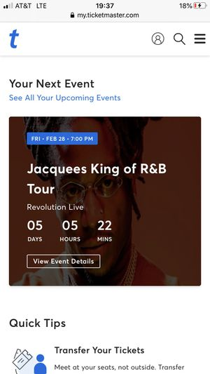 TWO TICKETS FOR JACQUEES 80$ R&B concert for Sale in West Palm Beach, FL