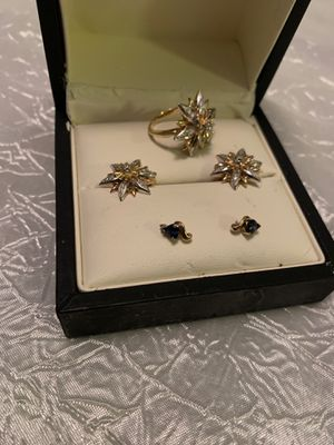 14k gold set Real Gold ring and earrings + pair of small earrings with sapphire for Sale in Los Angeles, CA