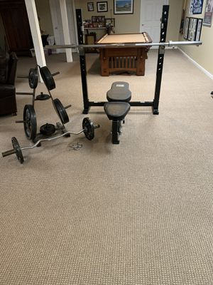 Weight bench, squat rack, weight plates, barbell for Sale in NJ, US