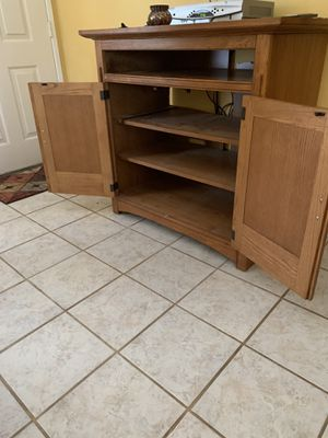 Cable box/stereo cabinet w pull out shelf and tile top for Sale in Orange, CA