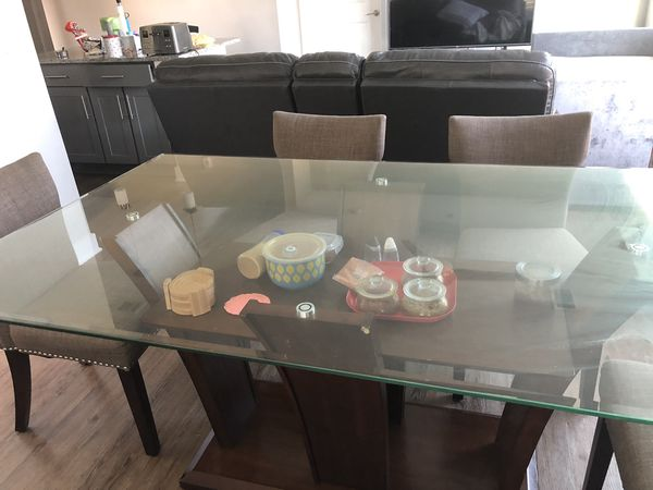 Rectangle Glass Dining Table With 6 Chairs And Storage For