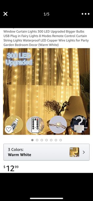 Brand new usb 300 led curtain lights with remote for Sale in Davie, FL