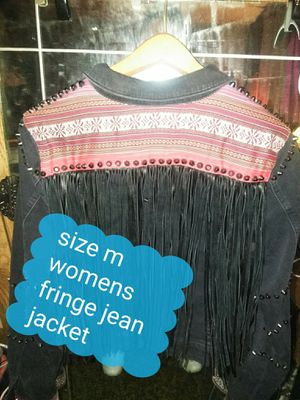 Size m fringe jean jacket for Sale in Pleasant Hill, CA