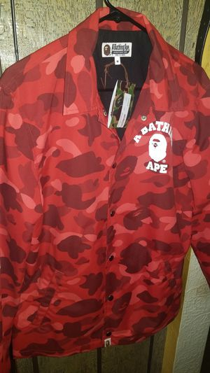 Bape red camo coaches jacket(m) for Sale in Homestead, PA