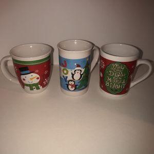 3 14oz Christmas Royal Norfolk mugs. Gently used for Sale in Saint Albans, WV