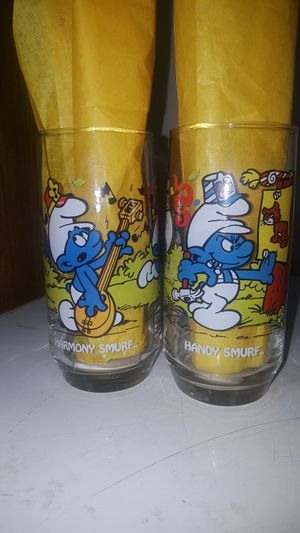 Set of 5 Smurf glasses for Sale in Fulton, MO