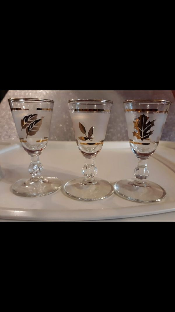 Rare vintage mid-century Libby 3 stem shot glasses