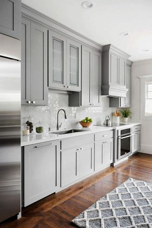 42 inch light gray Shafer kitchen cabinets complete with pantry for sale 1000 just a few more in stock for Sale in Atlanta, GA