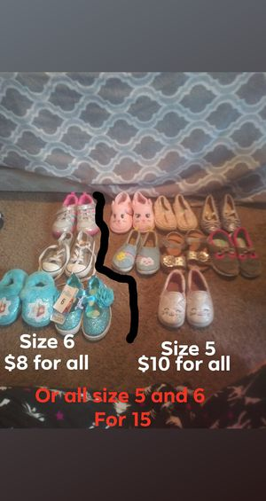 One pair of size 4 lots of size 5 in size 6 shoes for Sale in Elyria, OH