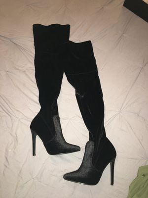 Black velvet thigh high boots, New, Never worm for Sale in Dallas, TX