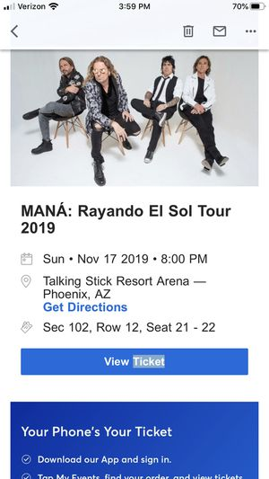 Mana tickets ‼️‼️ for Sale in Laveen Village, AZ