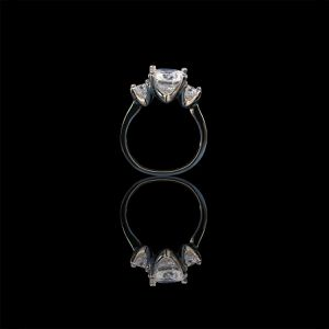 Three stone Sterling Silver ring with 3ct round center with double sides 0.25 ct. Stones ring, simulated diamond engagement ring for Sale in New York, NY