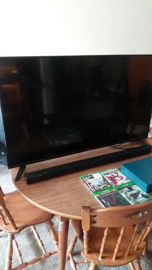 "50"" inch sceptre Tv- Xbox 1- 5 games 2 controllers & a Samsung sound bar for Sale in Whitehall, OH"
