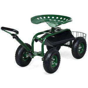 Costway Garden Cart Rolling Work Seat w/Tray Basket E xtendable Handle Green for Sale in Walnut, CA