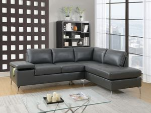 Just $50 down - New grey or black leather sectional sofa for Sale in Miami, FL