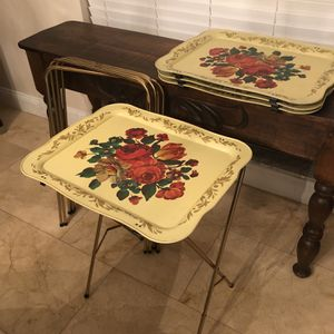 Vintage Tray Tables Set Of 4 Crestline TV Trays for Sale in New Port Richey, FL
