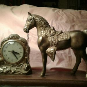Vintage Brass Horse Clock for Sale in Kingman, AZ