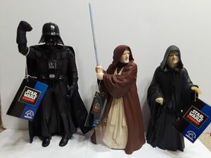 Star Wars 1990's Action Figures. Set of Three. Lord Palpatine, Obi Wan Ken obi, Darth Vader. Stationary Figures. 10in Tall for Sale in Houston, TX