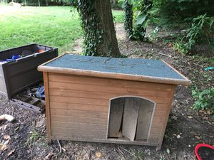 Barely used all wood dog house for Sale in Rockland, DE