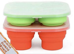 Collapsible Food Storage Containers | Foldable Silicone Baby Food Freezer Trays | Sturdy & Durable Tray & Lid Design | Easier, Faster Preparation & K for Sale in Azusa, CA