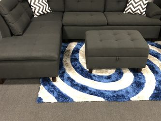 3PC Black Sofa Sectional W/ Ottoman for Sale in Fresno,  CA