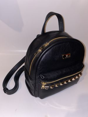 Designer black backpack gold plated studs real leather for Sale in Carson, CA