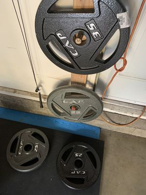 pair of cap barbell 35lb and 25lb olympic weights. 120lb total for Sale in East Los Angeles, CA