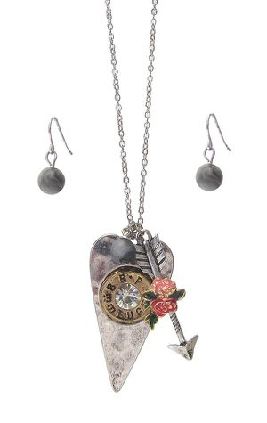 Bullet Heart and Arrow Charm Pendant Necklace Set for Sale in Smyrna, GA